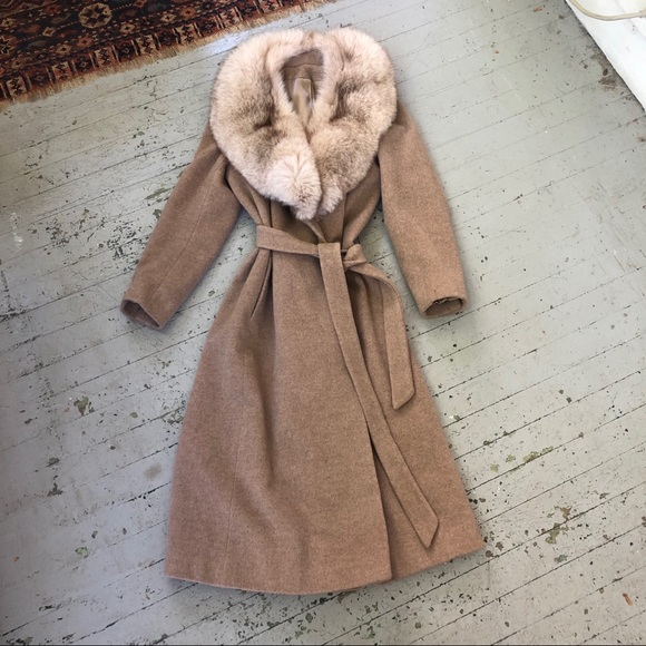 1950's Cashmere Wrap Coat with Fox Fur Collar